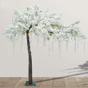white fake cherry tree
