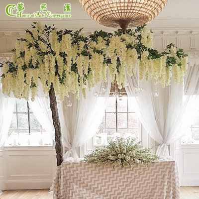 white silk wisteria tree for wedding