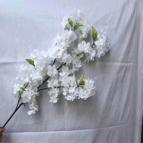white silk cherry branch