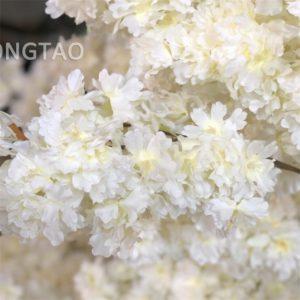 Fabric white cherry blossoms